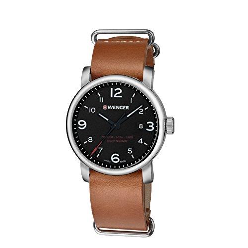 Wenger 01.1041.136 Men's Urban Metropolitan Black Dial Brown Leather Strap Watch
