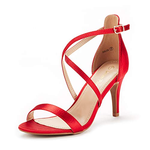 DREAM PAIRS Women's Dolce Red Satin Fashion Stilettos Open Toe Pump Heel Sandals Size 8 B(M) US