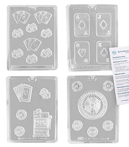Casino Poker Vegas Chocolate Candy Mold Kit - Includes 4 Molds and Tips!