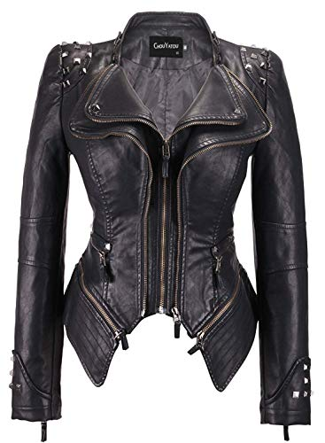chouyatou Women's Fashion Studded Perfectly Shaping Faux Leather Biker Jacket (X-Large, Black)