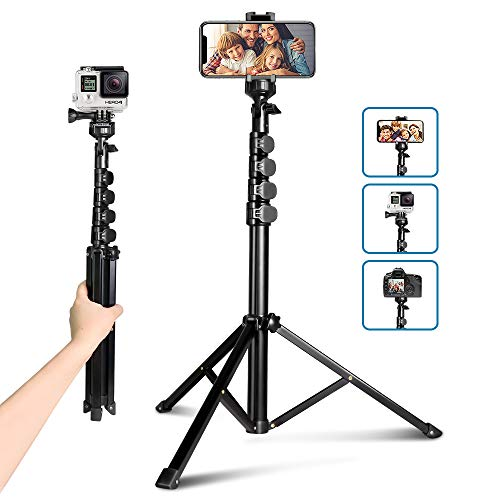 62' Phone Tripod Kit, Aureday Portable Cell Phone Tripod Stand with Bluetooth Remote and Universal Phone Holder, Perfect for Selfies/Video Recording/Vlogging/Live Streaming