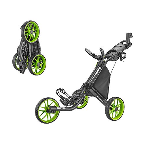 caddytek CaddyLite EZ Version 8 3 Wheel Golf Push Cart - Foldable Collapsible Lightweight Pushcart with Foot Brake - Easy to Open & Close, lime, one size