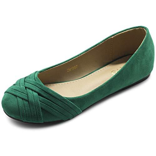 Ollio Women's Ballet Shoe Cute Casual Comfort Flat ZM1987(7.5 B(M) US, Green)