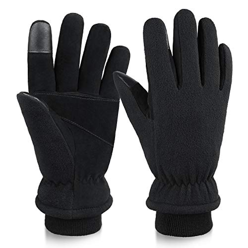 OZERO Winter Gloves Thermal in Cold Weather Touch Screen Glove with Deerskin Palm and Warm Polar Fleece for Men and Women Large Black