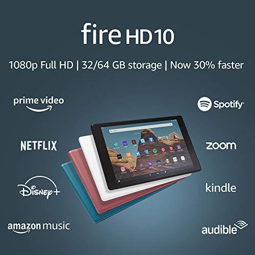 Fire HD 10 Tablet (10.1' 1080p full HD display, 64 GB) – Black (2019 Release)