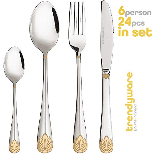 Silverware Set Limited Edition – 24 Piece Family Dinnerware Set – Flatware Set for 6 – Silver Tableware Set w/Gold Accents – Great for Family Gatherings & Daily Use – Spoons, Knives, Teaspoons, Forks