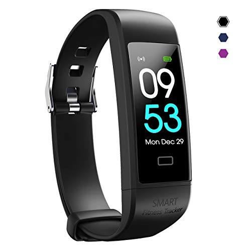 Snoky Fitness Tracker, Heart Rate Monitor Pedometer for Walking Step Activity Sleep Tracker Calorie Counter Smart Bracelet Fitness Band Watch for Women and Men Running Workout Exercise Sports Black
