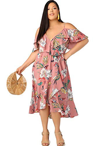 Milumia Women's Plus Size Floral Print Cold Shoulder Ruffle High Low Boho Long Dress Pink X-Large Plus