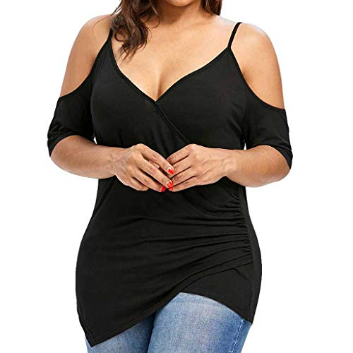 Rockia Womens Plus Size Cutout Asymmetric Cold Shoulder Sling T-Shirt V-Neck Tops Cami Black