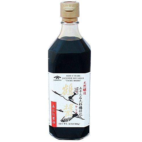 Yamaroku Shoyu Pure Artisan Dark Sweet Japanese Premium Gourmet Barrel Aged 4 Year Soy Sauce 'Tsuru Bisiho', 18oz (532ml)