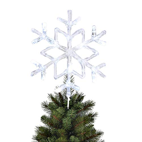 """EAMBRITE 9.5"""" Frozen Crystal Twinkle Snowflake Christmas Tree Topper Bright Cool White Led Treetop Light for Home Party Holiday Winter Xmas Decorations"""