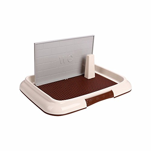 Indoor Training Dog Potty Tray with Pee Post Protection Wall Cover Dog Toilet for Boy and Girl Puppies