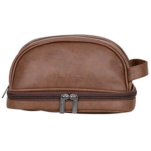 Ben Sherman Noak Hill Collection Vegan Leather Toiletry Travel Kit, Tan, Drop Bottom