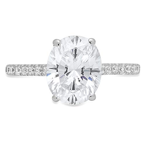 1.89ct Brilliant Oval Cut Solitaire with accent Highest Quality Lab Created White Sapphire Ideal VVS1 & Simulated Diamond Engagement Promise Anniversary Bridal Wedding Ring 14k White Gold Sz 6