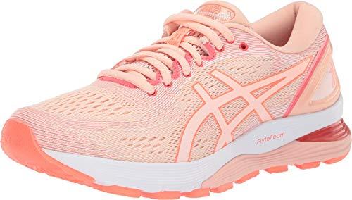 ASICS Women's Gel-Nimbus 21 Running Shoes, 8, BAKEDPINK/White