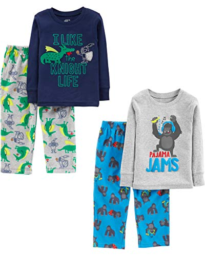 Simple Joys by Carter's Baby Little Kid 4-Piece Pajama Set (Cotton Top & Fleece Bottom), Gorilla/Dragons, 6