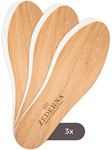 ZEDERNA Cedar Wood Shoe Insoles: Natural solution for sweaty feet, foot odor, athletes foot (Pack of 3), US Womens 12/US Men 10.5/EU 44, Cedar/Red