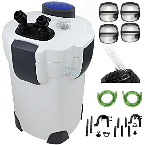 200 Gallon Aquarium Canister Filter UV 9w UV Sterilizer Fish Tank HW-304B