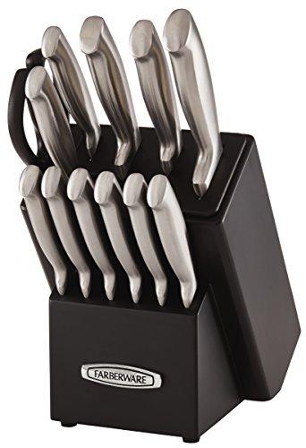Farberware Self-Sharpening 13-Piece Knife Block Set with EdgeKeeper Technology, Black -