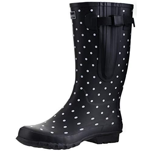 Jileon Wide Calf Durable Rubber Rain Boots for Women - up to 19 inch Calf - Standard Foot & Ankle Width (Black Spot 6)