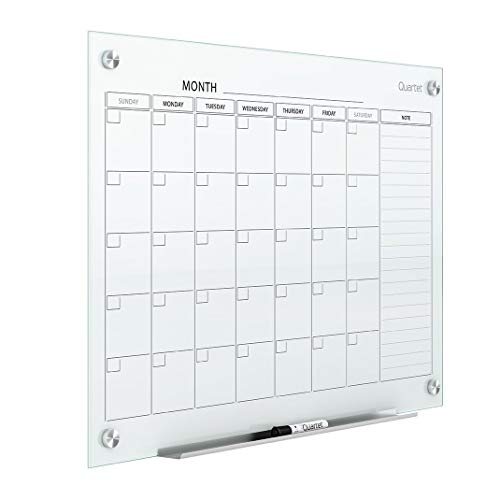 Quartet Magnetic Whiteboard Calendar, 3' x 2', Glass Dry Erase White Board Planner for Homeschool Supplies & Home Office Organization, 2 Magnets, 1 Dry Erase Marker, Frameless Infinity (GC3624F)