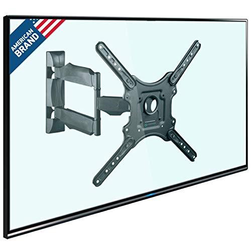 ONKRON TV Wall Mount Bracket Full Motion 32' – 55 Inch LCD LED OLED Flat Screens up to 77 lbs Adjustable Arm Tilt Swivel Rotation VESA up to 400 x 400 mm White M4