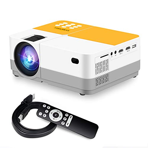 TUREWELL H3 Projector Video Projector 3600 Lumens Native 720P LCD Mini Projector 180' 55000 Hours Support 2K HD/VGA/AV/USB/SD Card/Headphone Compatible with TV Stick/Home Theater/PS4