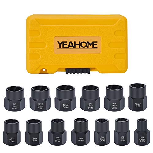 Bolt Extractor Nut Removal Tool - YEAHOME Black Oxide Impact Bolt & Lug Nut Remover Set 13 Pieces Extractor Socket Set Automotive Tools