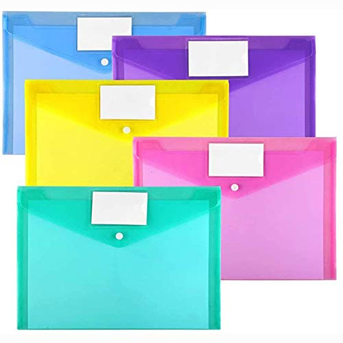 10 Pack Plastic Envelopes Poly Envelopes, Sooez Clear Document Folders US Letter A4 Size File Envelopes with Label Pocket & Snap Button for School Home Work Office Organization, Assorted Color