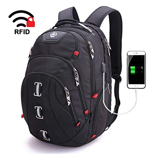 Swissdigital Pixel Travel Laptop Backpack-Laptops Backpack with USB Charging Port Smart Bag with RFID for Men & Women School Computer Bags Fits 15.6' Laptop and Notebook, Black SD-857