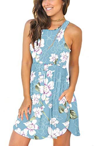 Unbranded Women Summer Casual T Shirt Dresses Beach Cover up Plain Tank Dress Floral Light Blue X-Small