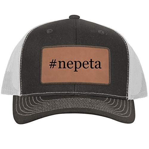 #Nepeta - Leather Hashtag Dark Brown Patch Engraved Trucker Hat, Grey-White, One Size