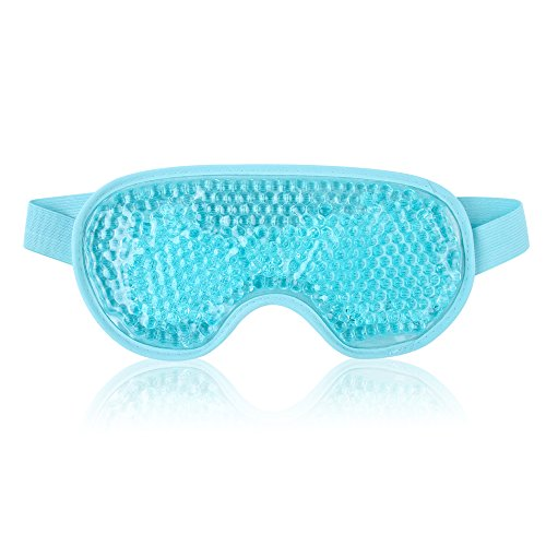 NEWGO Cooling Eye Mask Reusable Gel Eye Mask for Puffiness, Cold Eye Mask Eye Ice Mask Pack with Plush Backing for Headache, Migraine, Stress Relief - Blue