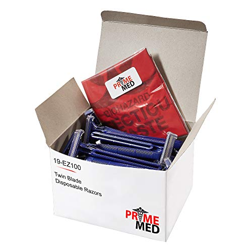 PrimeMed Biobag with 100 Disposable Twin Blade Razors at Bottom Pricing…