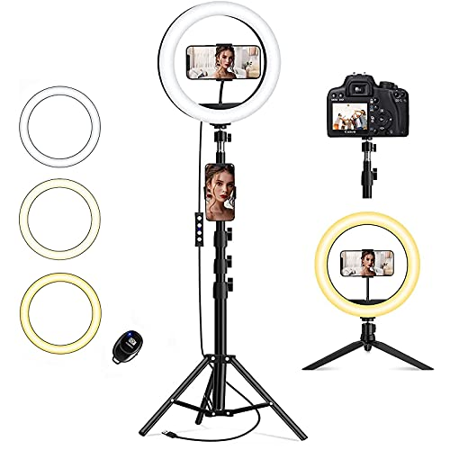 QI-EU 10.2' Ring Light with Stand Tripod & Cell Phone Holder for Live Stream/Makeup Selfie Ring Light Led Camera Lighting for YouTube Video/Photography/Tiktok Compatible with iPhone and Android Phone