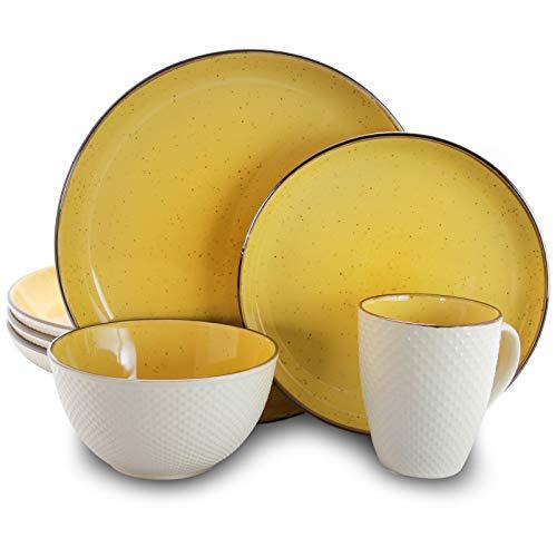 Elama Round Stoneware Luxurious Mellow Dinnerware Dish Set, 16 Piece, Bright Yellow and White