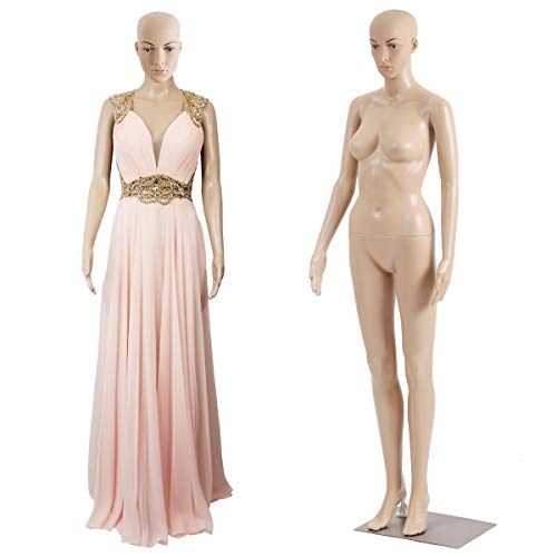 69 Inches Female Mannequin Plastic Detachable Mannequin Stand Torso Dress Form for Sewing Mannequin Full Body Adjustable Mannequin w/Metal Base & Realistic Display Mannequin Head Morden Dress Model