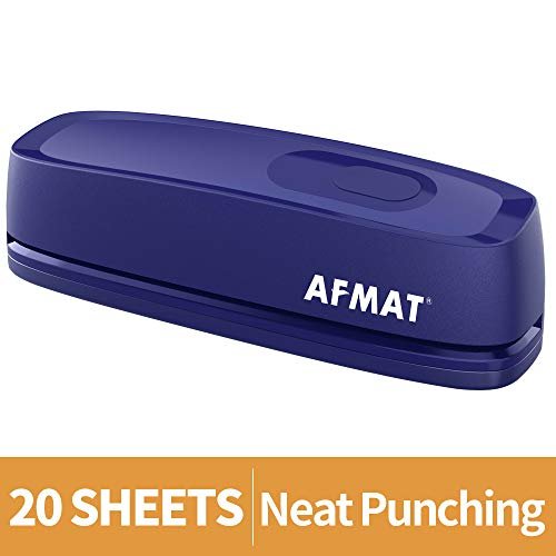 Electric Hole Punch, AFMAT 3 Hole Punch Heavy Duty, 20-Sheet Punch Capacity, AC or Battery Operated Paper Puncher, Effortless Punching, Long Lasting Paper Punch for Office School Studio, Blue