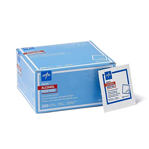 Medline Sterile Medium Prep Pads 70% Isopropyl Alcohol Antiseptic 200 Count (Limited Edition)