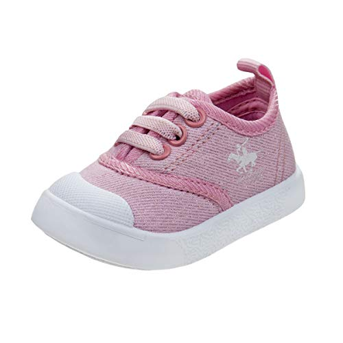 Beverly Hills Polo Club Baby Girls Sneakers, Pink Logo, Size 1 Infant'