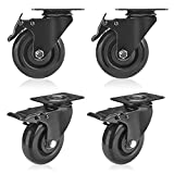 GloEra 4 inch Swivel Caster Wheels Heavy Duty 1200 LBS Capacity with Safety Dual Caster, 4 Pack All with Brake No Noise Lockable Wheels (Black)