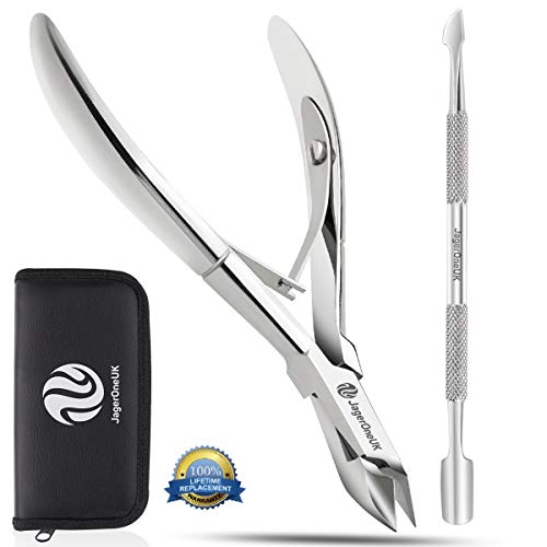 Professional JagerOneUK Brand Cuticle Nipper and Pusher- Premium Stainless Steel Cuticle Trimmer, Manicure and Pedicure Tools, Nails Care Damaged Skin Remover with Leather Pouch (Cuticle Nipper)