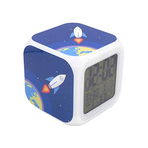 BoFy Led Alarm Clock Rocket Earth Pattern Personality Creative Noiseless Multi-Functional Electronic Desk Table Digital Alarm Clock for Unisex Adults Kids Toy Gift