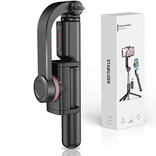 Gimbal Stabilizer for Smartphone with Extendable Bluetooth Selfie Stick and Tripod, 1-Axis Multifunction Remote 360°Automatic Rotation, Auto Balance iPhone/Android