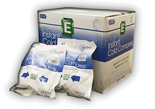 Emerald Instant Cold Compress Pack, First Aid Kit Requirement, Long Lasting, No Freezing Required, Pack of 24 Packs - Small (4' x 5')