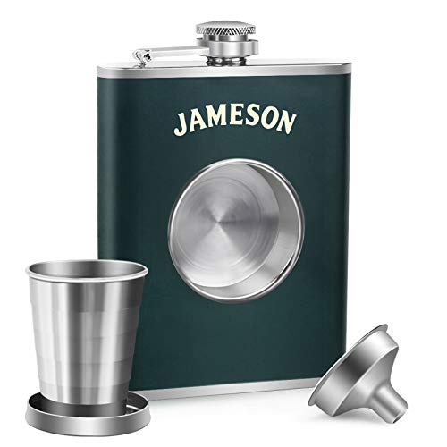 KWANITHINK Flasks for Liquor for Men, Stainless Steel Shot Flask 8 oz with 2 oz Collapsible Shot Glass & Funnel, Whiskey Flask Hip Flask Ideal Gift for Men(Green)