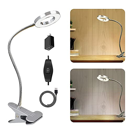 W-LITE 6W LED USB Reading Clip Laptop Lamp for Book,Piano,Bed Headboard,Desk, Eye-Care 2 Light Color Switchable, Adapter Included, Silver
