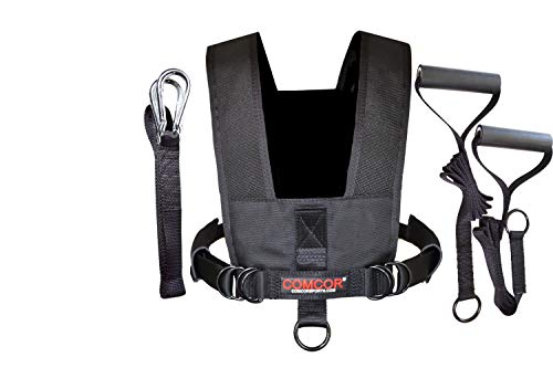 ComCor II Sled Harness with Pull Strap and Training Grips (Black, Adult (Chest to 50'))