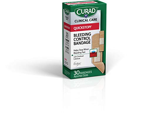 Curad-CUR5245V1 Quickstop Instant Clotting Technology, Flex Fabric Bandages, Helps with Minor Bleeding, Assorted Sizes, 30 ct. (Pack of 3)