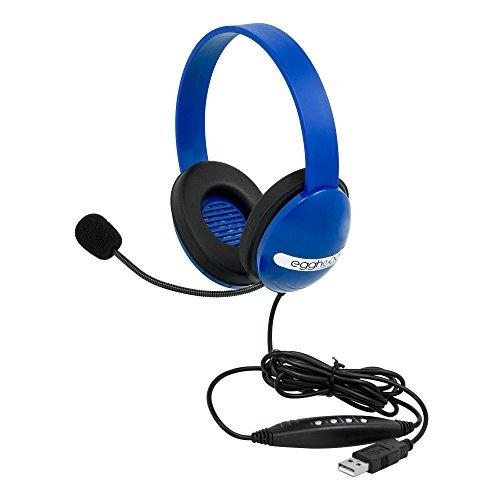 Egghead EGG-IAG-1006-BL-SO-10 USB Kids Headphones with Boom Microphone, Blue (Pack of 10)